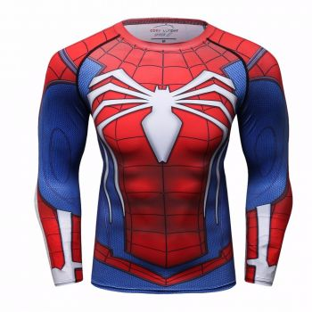 Cody Lundin - T-shirt compression MMA manches longues pour homme - Spider-Man Classic