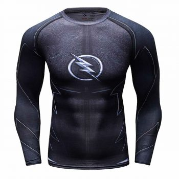 Cody Lundin - T-shirt compression MMA manches longues pour homme - Flash Reverse Black