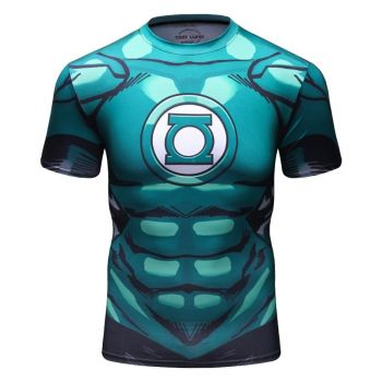 Cody Lundin - T-shirt compression MMA manches courtes pour homme - Green Lantern