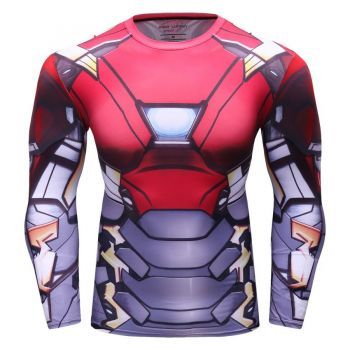 Cody Lundin - T-shirt compression MMA manches longues pour homme - Iron Man