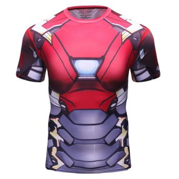 Cody Lundin - T-shirt compression MMA manches courtes pour homme - Iron Man