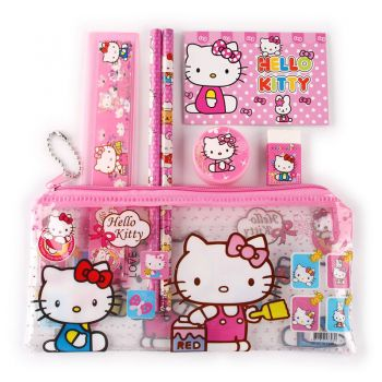 Sanrio - Set scolaire 7 pièces Hello Kitty : 1 trousse + 2 stylos + 1 gomme + 1 carnet + 1 taille-crayons
