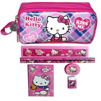 Sanrio - Set scolaire 7 pièces Hello Kitty : 1 trousse 2 compartiments + 2 stylos + 1 gomme + 1 carnet + 1 taille-crayons
