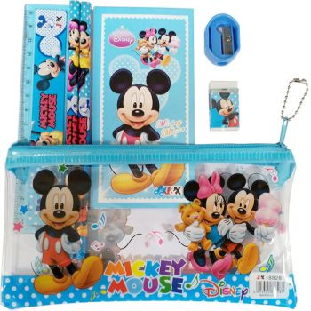 Set scolaire 7 pièces Mickey Mouse : 1 trousse + 2 stylos + 1 gomme + 1 carnet + 1 taille-crayons